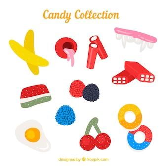 Kolekcja pyszne cukierki w stylu płaski