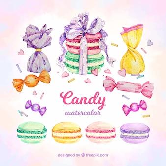 Kolekcja pyszne cukierki w stylu przypominającym akwarele