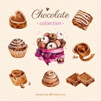 Kolekcja pyszne czekoladki w stylu przypominającym akwarele