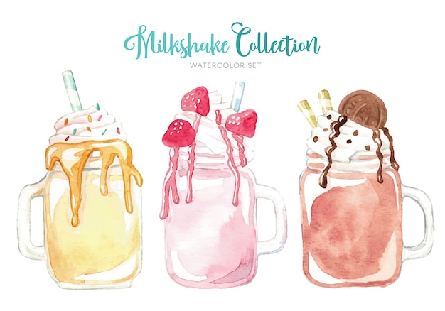 Kolekcja pysznych akwarela milkshake