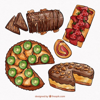 Kolekcja pysznych ciast akwarela