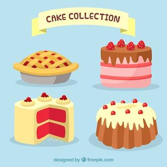 Kolekcja pysznych ciast w stylu 2d