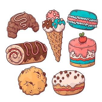 Kolekcja pysznych kolorowych słodyczy