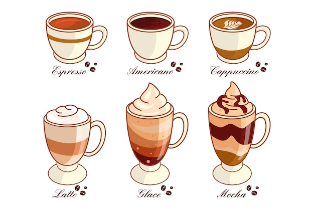 Kolekcja pysznych rodzajów kawy