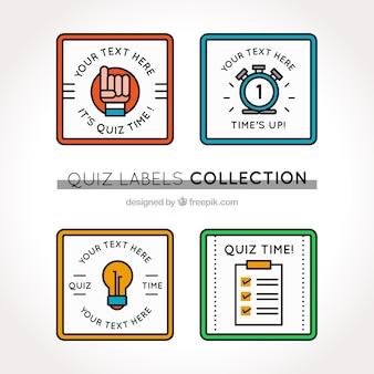 Kolekcja quizu etykiety w różnych kolorach