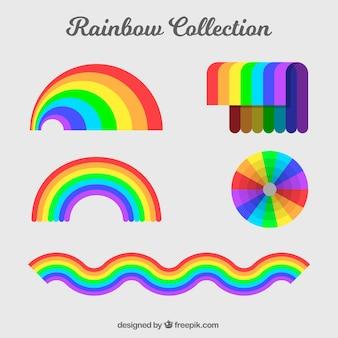 Kolekcja rainbows o różnych kształtach w płaskim stylu