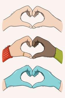 Kolekcja rąk złożonych w kształcie serca