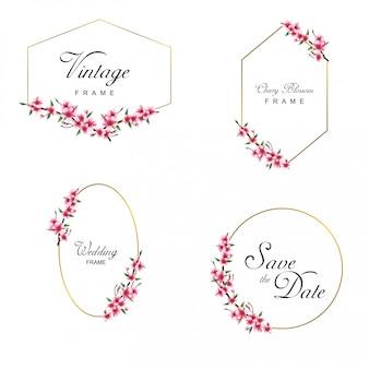 Kolekcja rama zaproszenie na ślub w stylu przypominającym akwarele