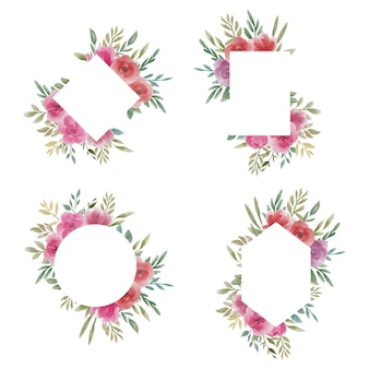 Kolekcja ramek akwarela kwiatowy ślub