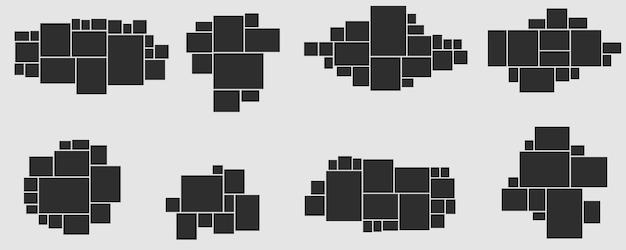 Kolekcja ramek do zdjęć. ramka na zdjęcia i obrazki, kolaż zdjęć. puzzle mood board, branding szablon prezentacji kreatywnych wektor zestaw. mozaika fotografii, montaż na białym tle