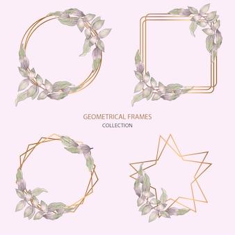 Kolekcja ramek geometrycznych w akwareli