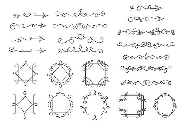 Kolekcja ramek i elementów ozdobnych