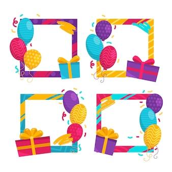Kolekcja ramek kolażu ręcznie rysowane urodziny