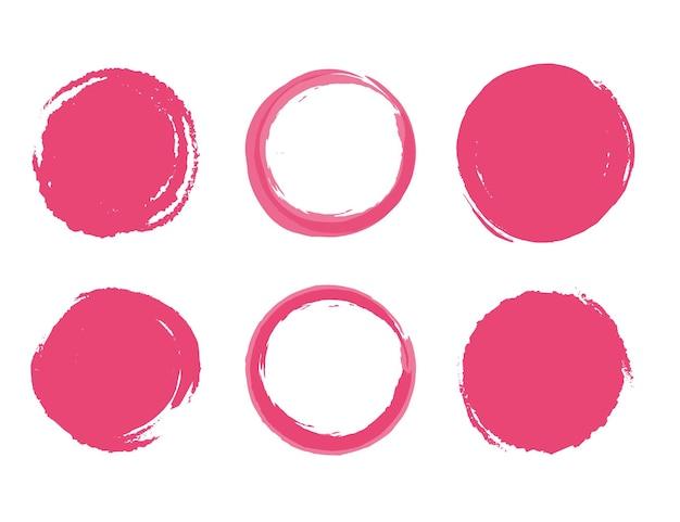 Kolekcja ramek okrągłe pociągnięcia pędzlem. zestaw ramek monogramów