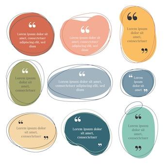 Kolekcja ramek organicznych płaskich cytatów