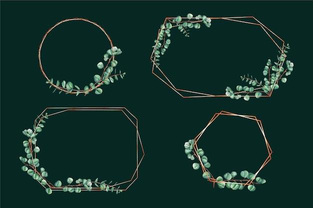 Kolekcja ramek ozdobnych liści