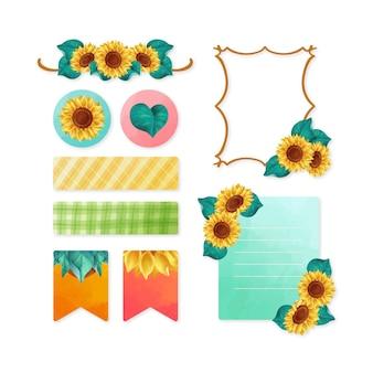 Kolekcja ramek słonecznika i zestaw notatników