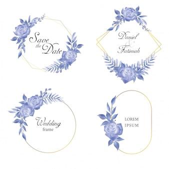 Kolekcja ramek zaproszenia ślubne z niebieskimi różami i liśćmi w stylu przypominającym akwarele