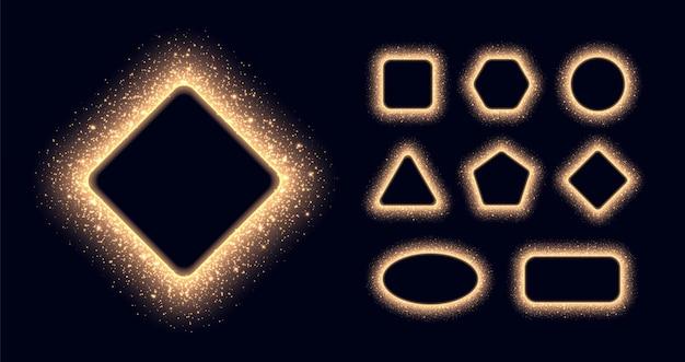 Kolekcja ramek ze świecącym złotym pyłem gwiezdnym, błyszczące obramowania z błyskami i flarami. streszczenie świecące cząsteczki w różnych kształtach na białym na czarnym tle.