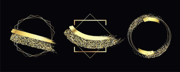 Kolekcja ramek złoty brokat