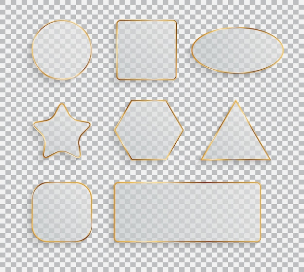 Kolekcja ramka przezroczysta szklana zestaw ilustracji