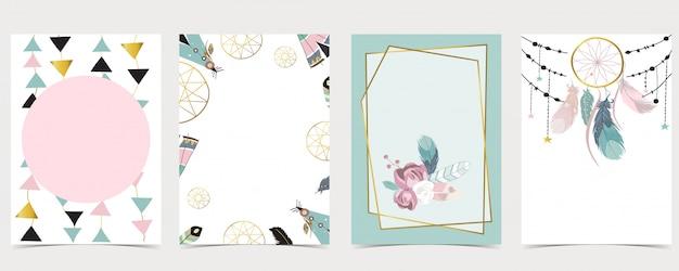 Kolekcja ramki tła boho z lwem, lampartem, zebrą, żyrafą. edytowalna ilustracja na zaproszenie na urodziny, pocztówkę i baner strony internetowej