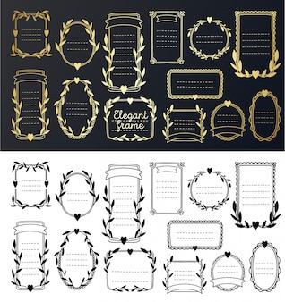 Kolekcja ramki złote zaproszenie na ślub. kwiatowa granica ręcznie rysowane vintage, dekoracyjny elegancki element.