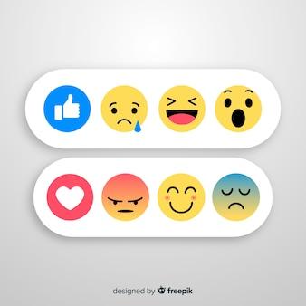 Kolekcja reakcji płaskich emotikon