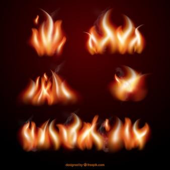 Kolekcja realistyczne płomienie