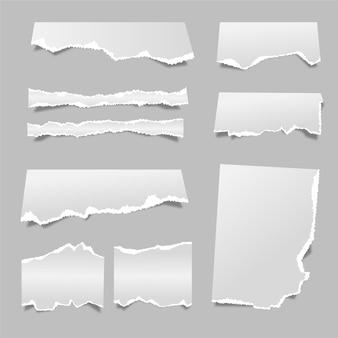 Kolekcja realistycznego podartego papieru