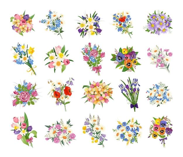 Kolekcja realistycznych bukietów kwiatowych.