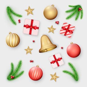 Kolekcja realistycznych elementów świątecznych