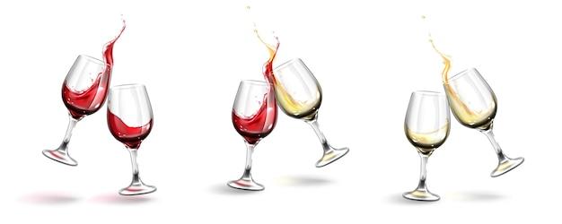 Kolekcja realistycznych kieliszków do wina