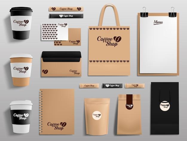 Kolekcja realistycznych makiet kawiarni