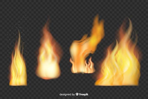 Kolekcja realistycznych płomieni ognia