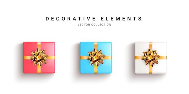 Kolekcja realistycznych pudełek na prezent na białym tle