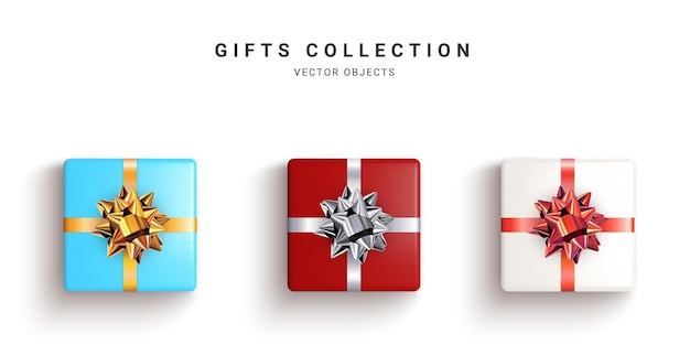 Kolekcja realistycznych pudełek na prezenty, ozdobne prezenty na białym tle.