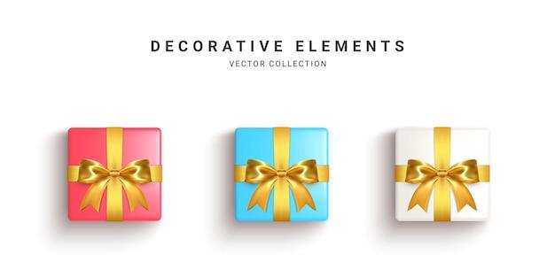 Kolekcja realistycznych pudełek na prezenty