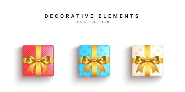 Kolekcja realistycznych pudełek prezentowych, ozdobne prezenty na białym tle.