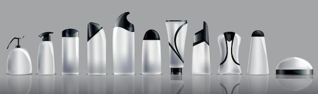 Kolekcja realistycznych pustych tubek kosmetycznych.
