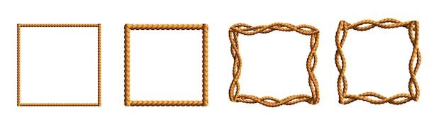 Kolekcja realistycznych ramek wykonanych z falistych lin
