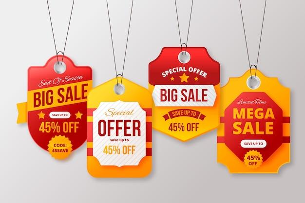 Kolekcja realistycznych tagów sprzedaży z rabatami