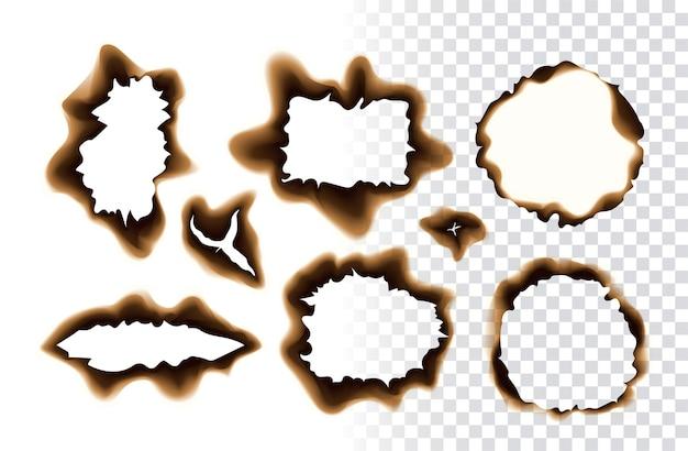 Kolekcja realistycznych wypalonych otworów i krawędzi skrawków papieru