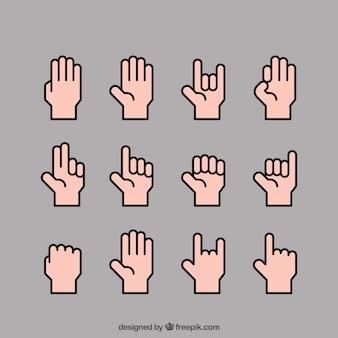 Kolekcja ręce z różnych pozach w płaski styl