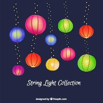 Kolekcja ręcznie malowane kolorowe latarnie