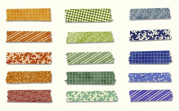 Kolekcja ręcznie malowanych akwarelowych pięknych taśm washi