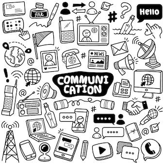 Kolekcja ręcznie rysowana: komunikacja