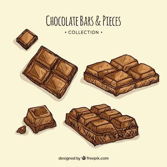 Kolekcja ręcznie rysowane batony i kawałki czekolady