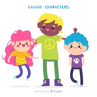 Kolekcja ręcznie rysowane charakter kawaii
