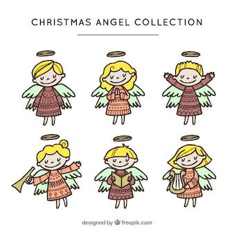 Kolekcja ręcznie rysowane dość aniołków